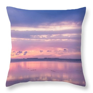 Reflections At Sunset In Key Largo Throw Pillow