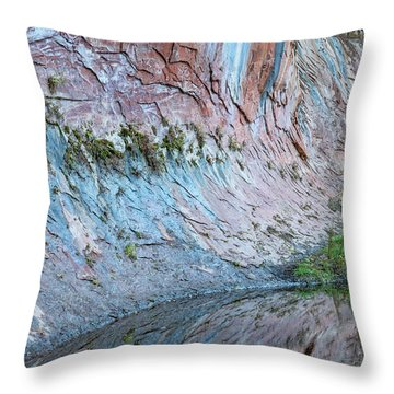 Throw Pillow featuring the photograph Reflections In Oak Creek Canyon by Sandra Bronstein
