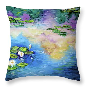Reflections On A Waterlily Pond Throw Pillow