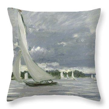 Racing Boat Throw Pillows