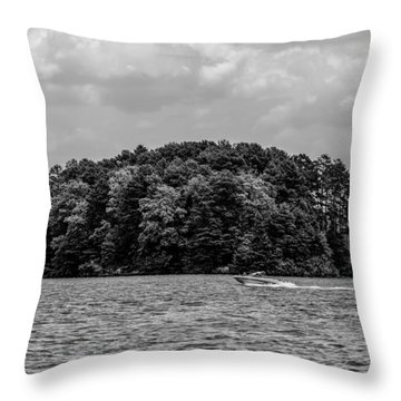 Relaxing On Lake Keowee In South Carolina Throw Pillow by Alex Grichenko