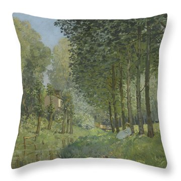 Rest Along The Stream  Throw Pillow by Alfred Sisley
