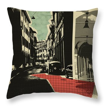 retro postcard of Bologna Throw Pillow