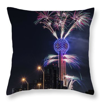 Reunion Tower Fireworks Throw Pillow