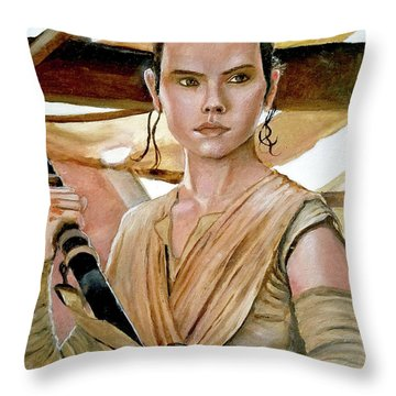 Rey Throw Pillow by Tom Carlton