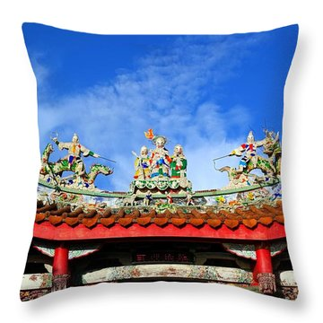 Throw Pillow featuring the photograph Richly Decorated Chinese Temple Roof by Yali Shi