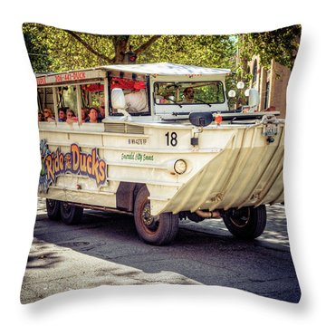 Ride The Ducks Throw Pillow by Spencer McDonald