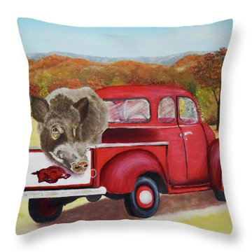 Ridin' With Razorbacks 2 Throw Pillow by Belinda Nagy