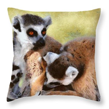 Ring Tailed Lemurs Family Throw Pillow