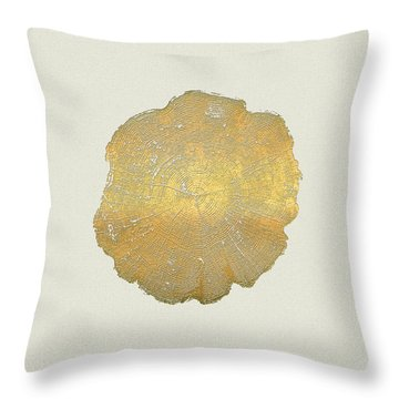 Rings Of A Tree Trunk Cross-section In Gold On Linen  Throw Pillow