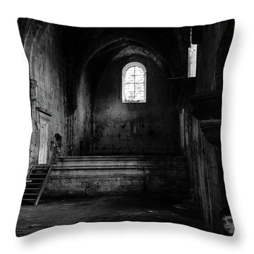 Throw Pillow featuring the photograph Rioseco Abandoned Abbey Nave Bw by RicardMN Photography