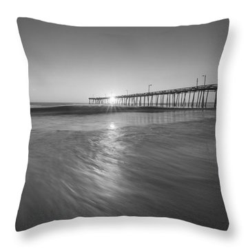 Rise And Shine At Nags Head Pier Throw Pillow