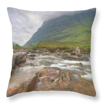 River Coe And Bidean Nam Bian Throw Pillow by Ray Devlin
