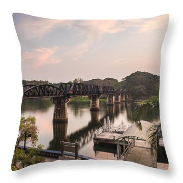 River Kwai Bridge Throw Pillow