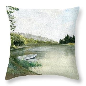 Throw Pillow featuring the painting River Light by Melly Terpening