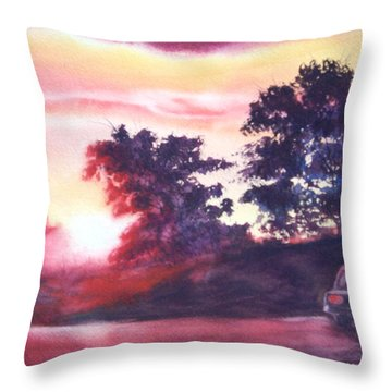 Road To Fargo Throw Pillow by Marilyn Jacobson
