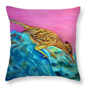Roadrunner On Point  Pastel Throw Pillow