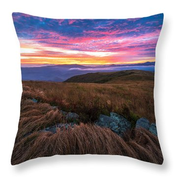 Roan Mountain Sunrise Throw Pillow