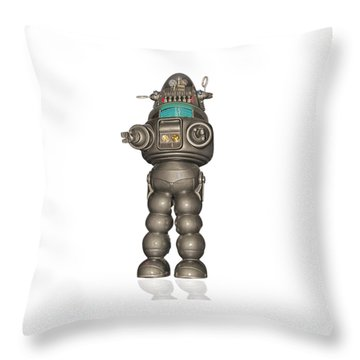 Robby The Robot Throw Pillow by Gary Warnimont