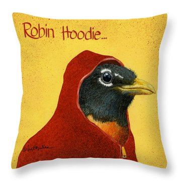 Robin Hoodie... Throw Pillow by Will Bullas