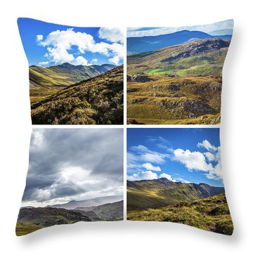 Throw Pillow featuring the photograph Postcard Of Rock Formation Landscape With Clouds And Sun Rays In Ireland by Semmick Photo