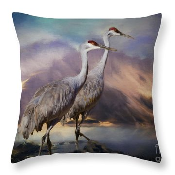 Rocky Mountain Sandhill Cranes Throw Pillow