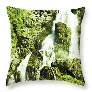 Rocky Mountain Waterfall Throw Pillow