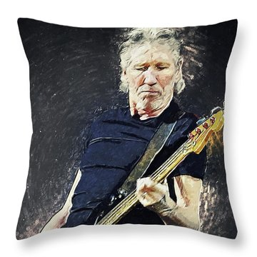 Throw Pillow featuring the digital art Roger Waters by Taylan Apukovska
