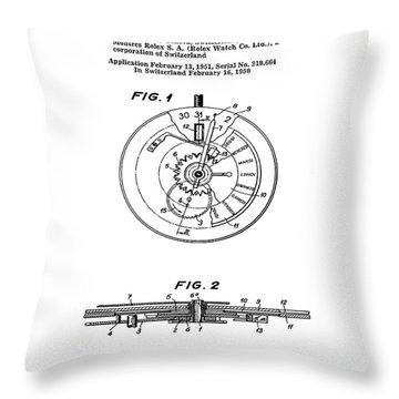 Swiss Watch Drawings Throw Pillows