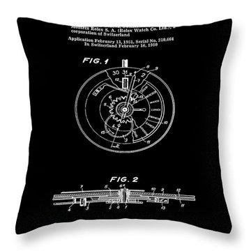 Rolex Watch Patent 1999 In Black Throw Pillow