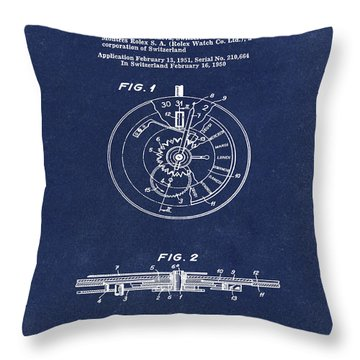 Rolex Watch Patent 1999 In Blue Throw Pillow