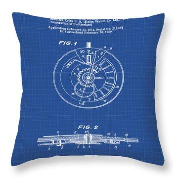 Rolex Watch Patent 1999 In Blueprint Throw Pillow