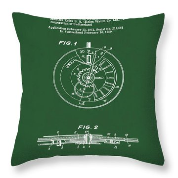 Rolex Watch Patent 1999 In Green Throw Pillow