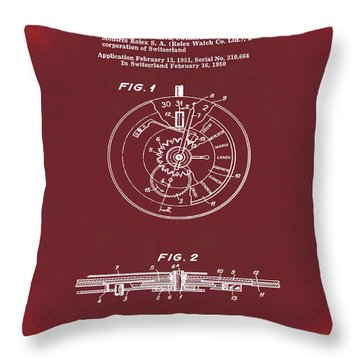 Rolex Watch Patent 1999 In Red Throw Pillow