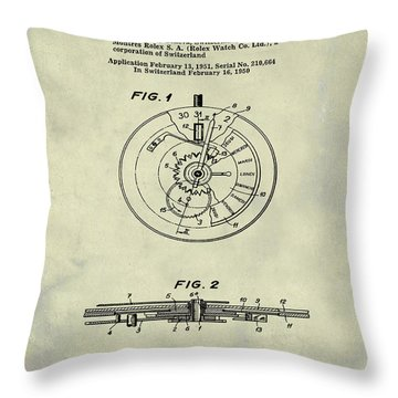 Rolex Watch Patent 1999 In Weathered Throw Pillow