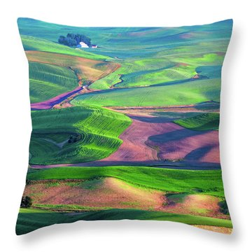 Green Hills Of The Palouse Throw Pillow by James Hammond