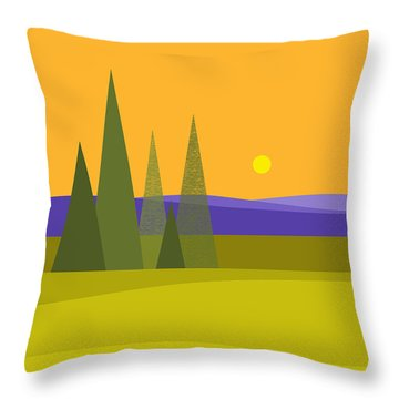 Rolling Hills Throw Pillow by Val Arie
