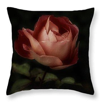 Romantic November Rose Throw Pillow