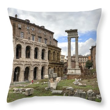 Rome - Theatre Of Marcellus Throw Pillow by Joana Kruse
