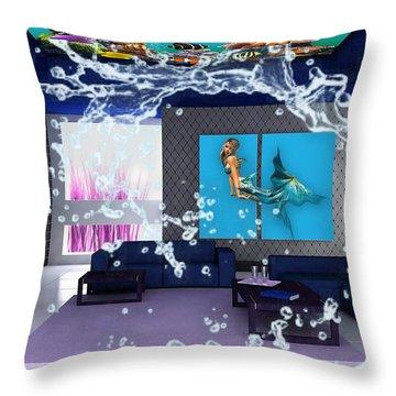 Rooftop Saltwater Fish Tank Art Throw Pillow