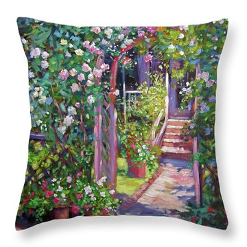 Rose Cottage Gate Throw Pillow