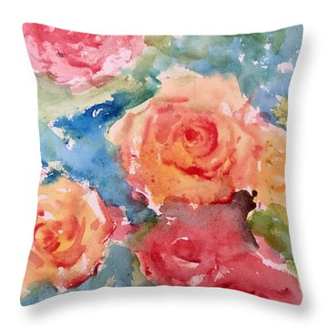Roses Throw Pillow by Trilby Cole