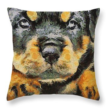 Rottweiler Puppy Portrait Throw Pillow by Tracey Harrington-Simpson