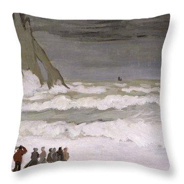 Rough Sea At Etretat Throw Pillow