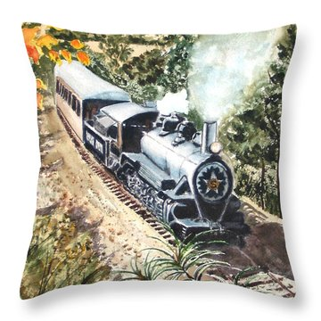 Throw Pillow featuring the painting Round The Bend by Karen Ilari
