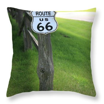 Throw Pillow featuring the photograph Route 66 Shield And Fence Post by Frank Romeo