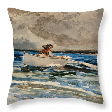 Rowing At Prouts Neck Throw Pillow by Winslow Homer