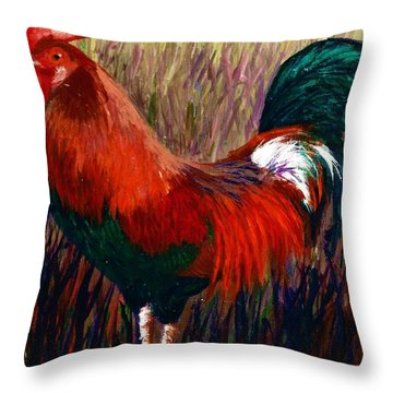 Rudy The Rooster Throw Pillow