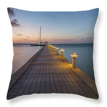 Throw Pillow featuring the photograph Rum Point Pier At Sunset by Adam Romanowicz