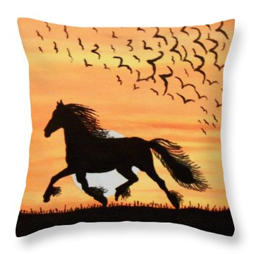 Throw Pillow featuring the painting Running In The Wind by Connie Valasco